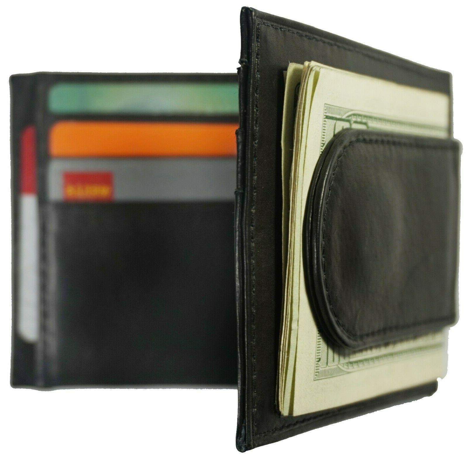 Leather Card Front Black Men's Wallet