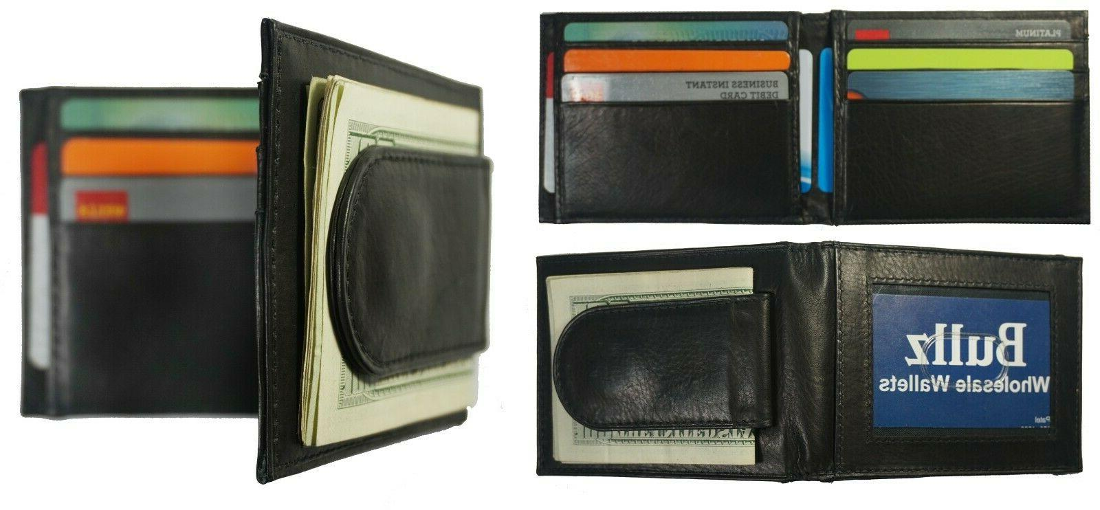 leather bifold slim id card