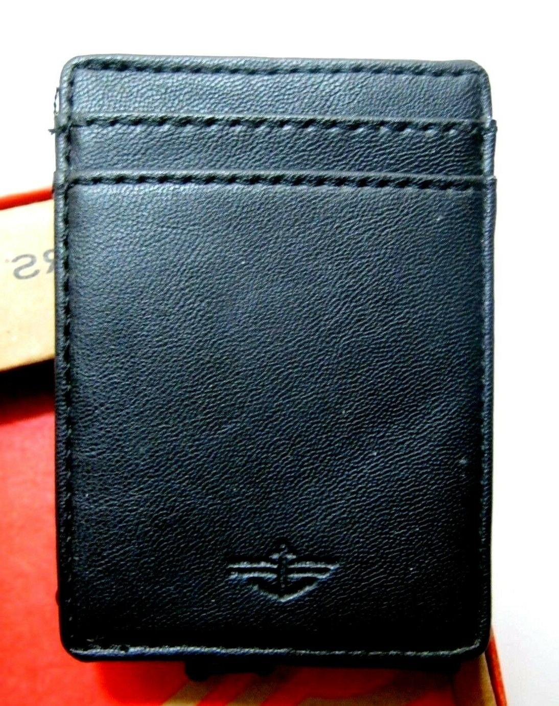 leather magnetic black money clip card case