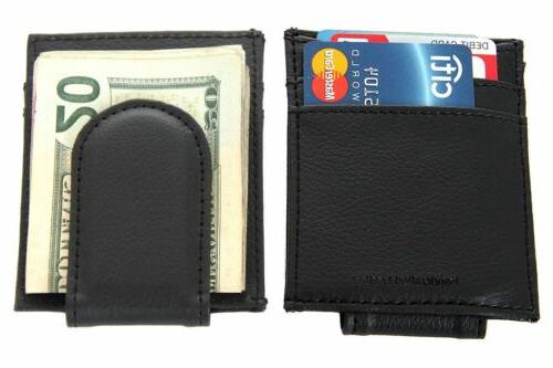 Leather Magnetic Money Clip 3 Credit Card Slim Design Black