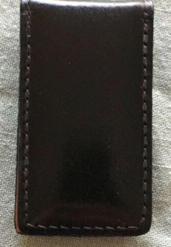 Fossil Leather Magnetic Money Clip Italian Genuine - Black - New
