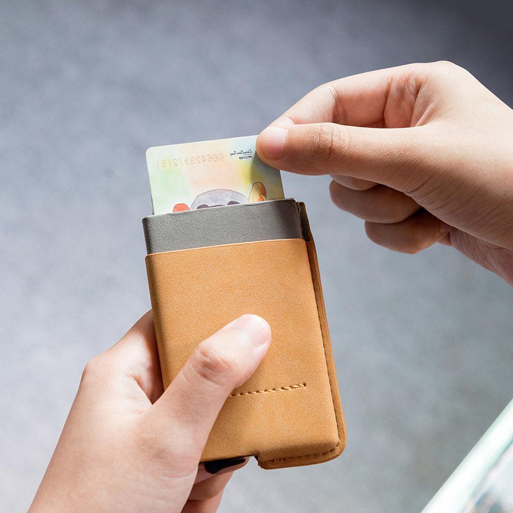 Leather Wallet Up Credit Card Holder Slim Clip