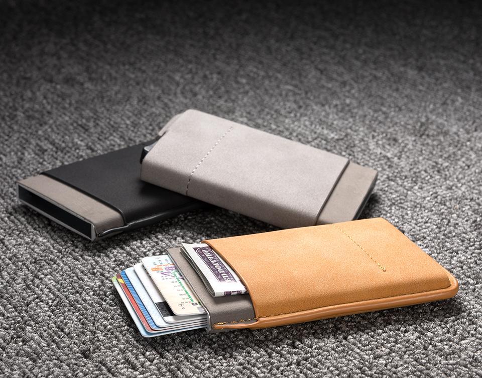 Leather Wallet Up Credit Card Holder Clip