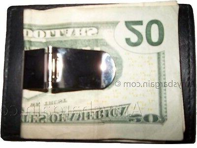 leather money clip credit card id holder