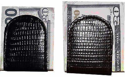 leather money clip lizard skin printed money
