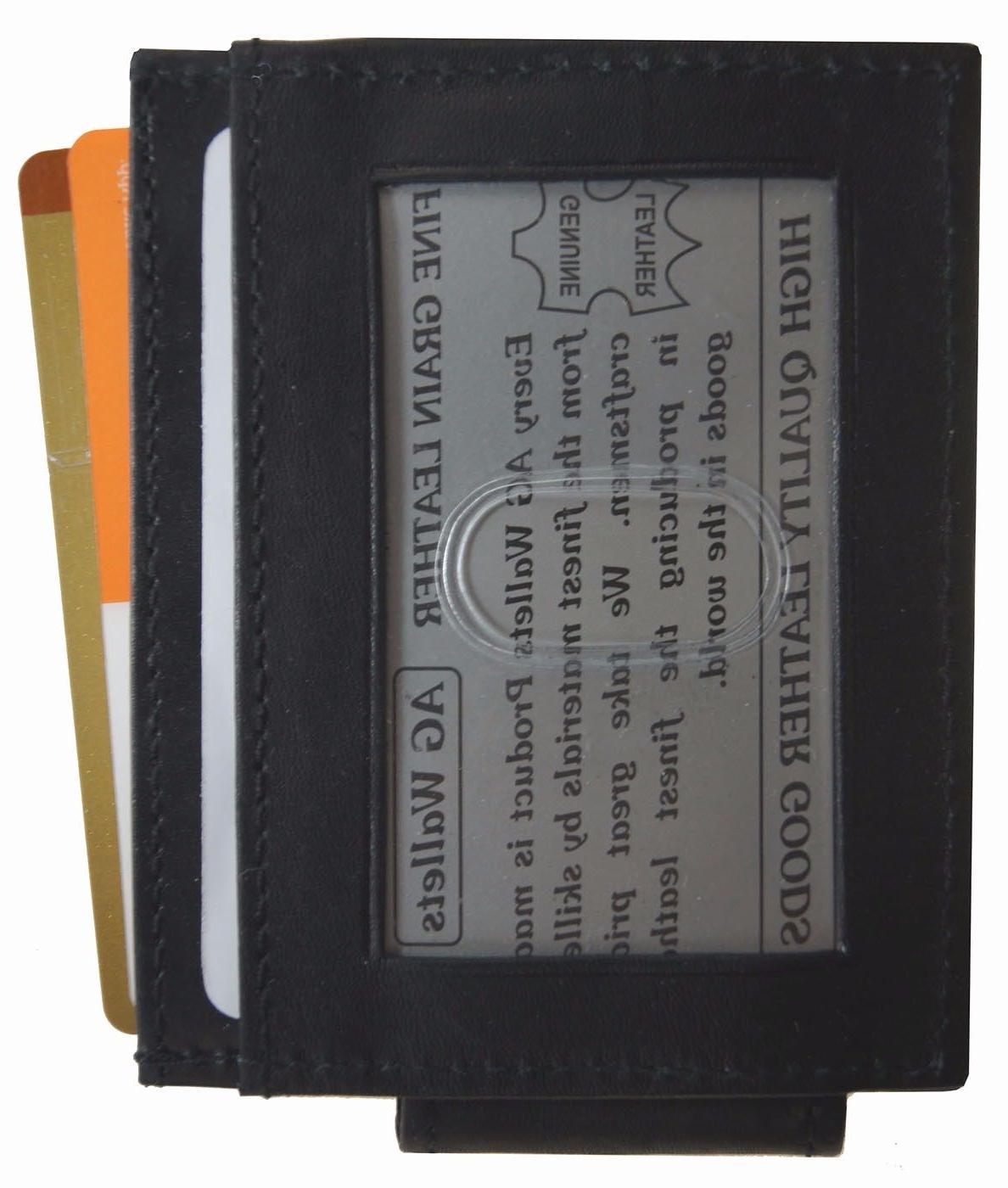 Mens Leather Clip Slim Pocket Magnetic ID Card Wallet Black
