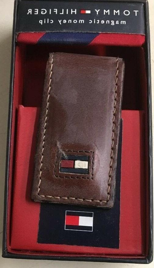 leather money clip unisex brown leather new