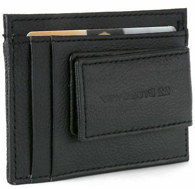 leather money clip wallet card