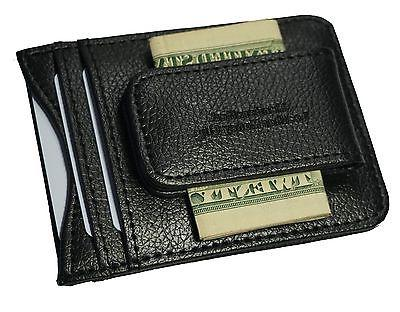 genuine leather money clip front pocket wallet