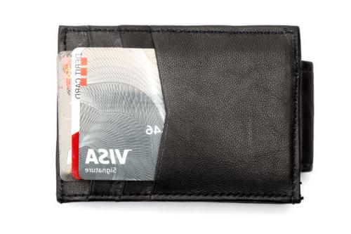 Leather Slim Money Clip Card Holder Black Wallet
