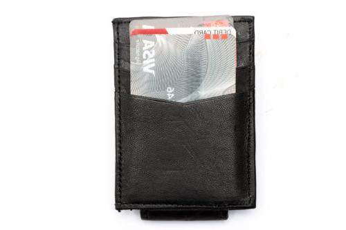 Leather Magnetic Money 3 Card Wallet