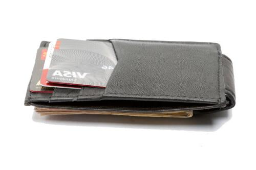 leather slim design magnetic money clip 3