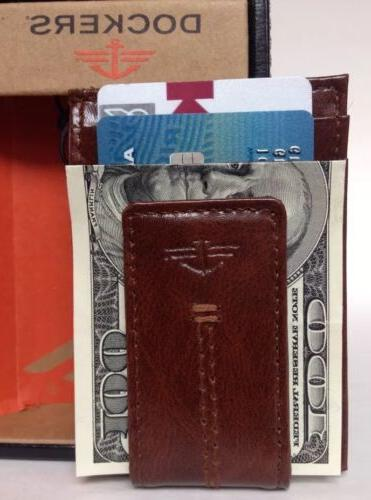 DOCKERS Leather Money Card ID Case Pocket NEW