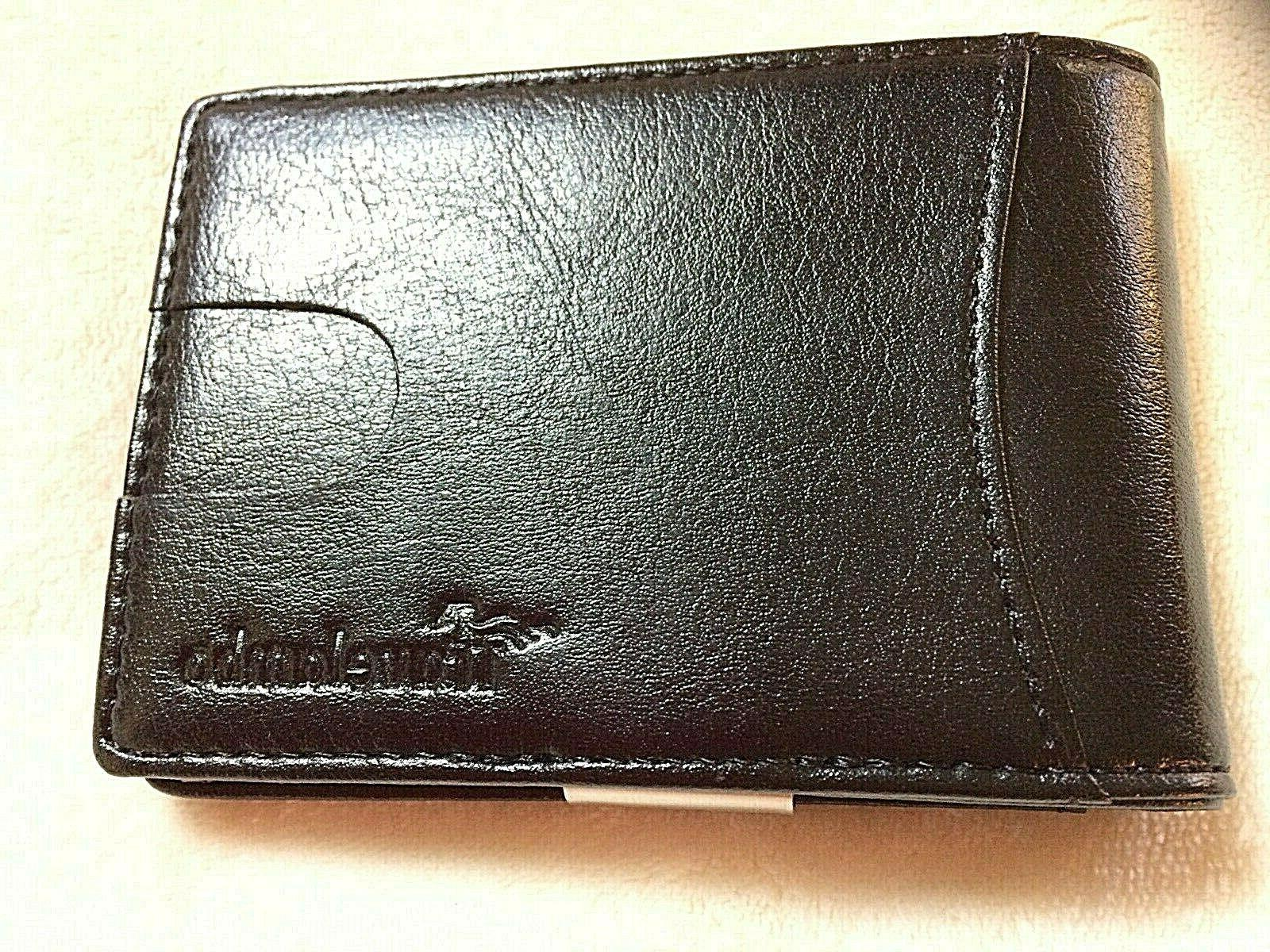 leather slim mens wallet with money clip