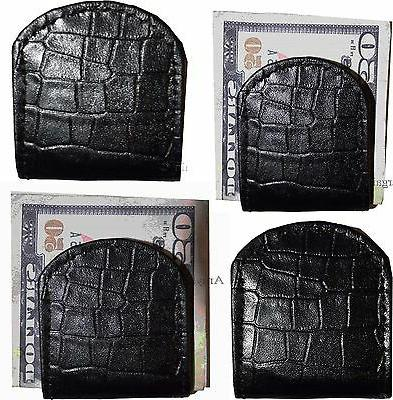 Lot of 4 New Black Crocodile printed leather Unbranded money