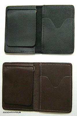 Made in USA Genuine Leather Mens Money Clip Wallet Card Case