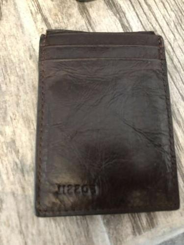 magnetic card case brown leather