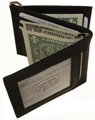 "Men""s Cow Leather Double Money Clip Z-Fold Trifold Wallet 9"