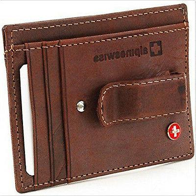 Alpine Swiss Money Clip Front Pocket Wallet Credit Card New