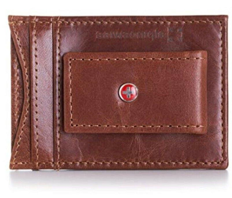 men leather money clip front