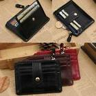 Women Mini Leather Wallet Men Zipper Credit Card ID Holder M