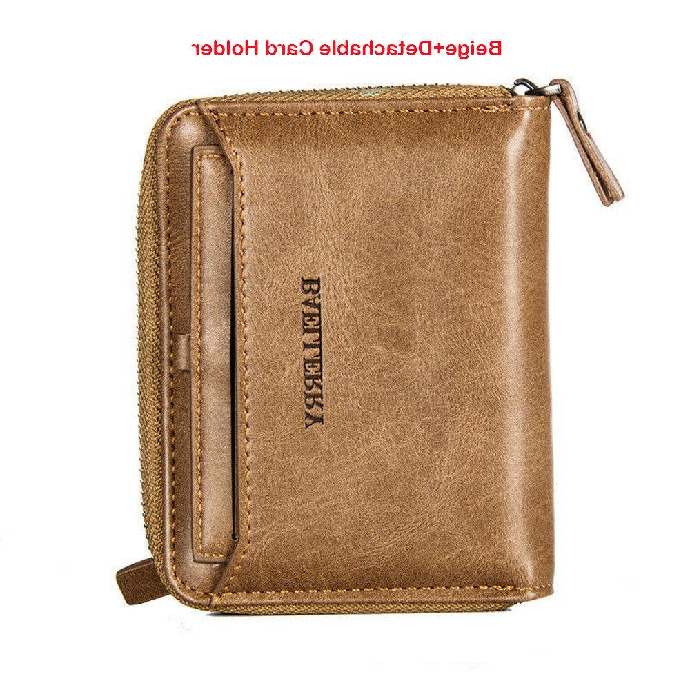 Men Leather Wallet ID Card Holder Clutch Coin