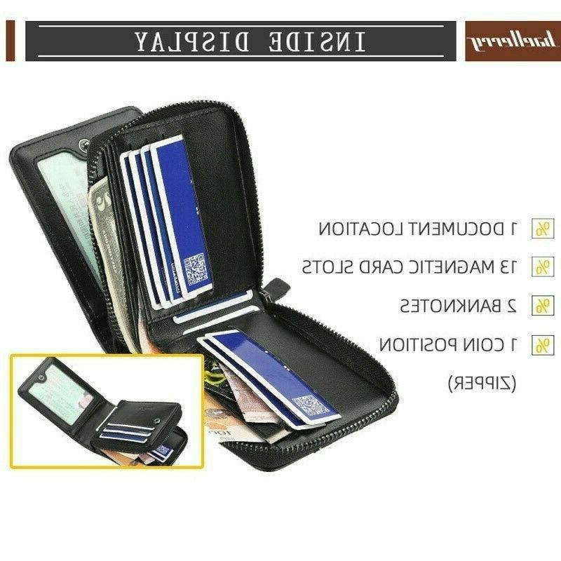 Men Men's Leather ID Credit Card Holder Clutch Coin