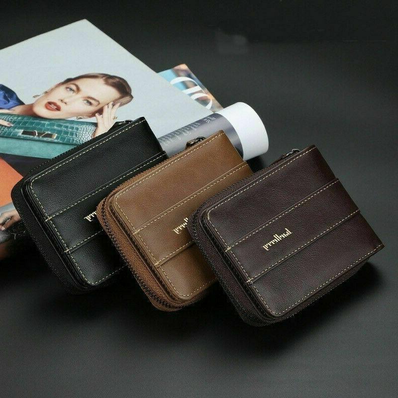 Men Men's Leather ID Credit Holder Clutch Pocket