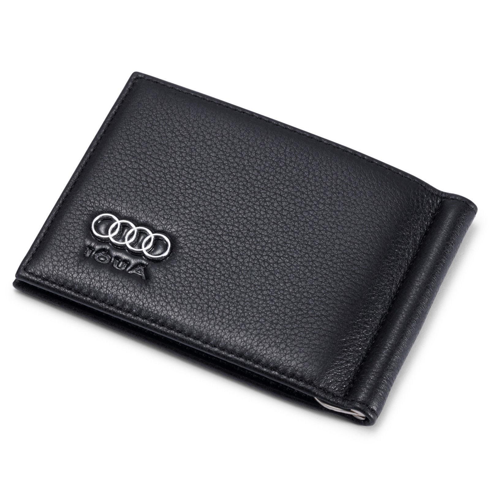 Audi Men Money Clip Wallet Black Genuine Leather 6 Credit Ca