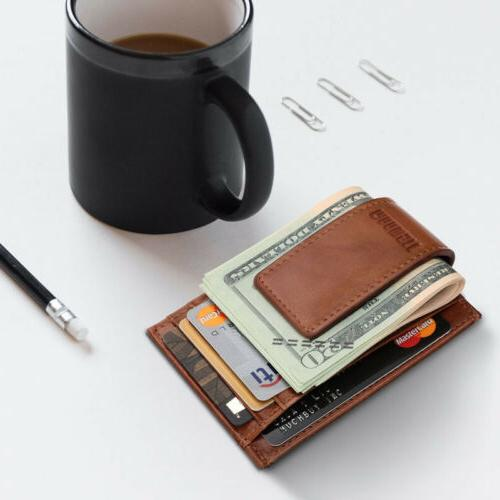 Men's Leather RFID Slim Money Clip Credit Card ID Holder Fro