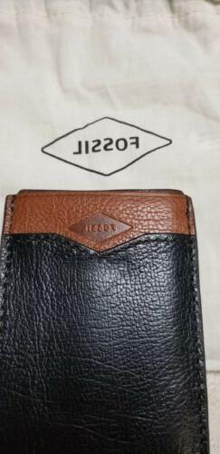 Fossil Men RFIDEaston Card Holder W/Money ClipBlk/Brown Leat