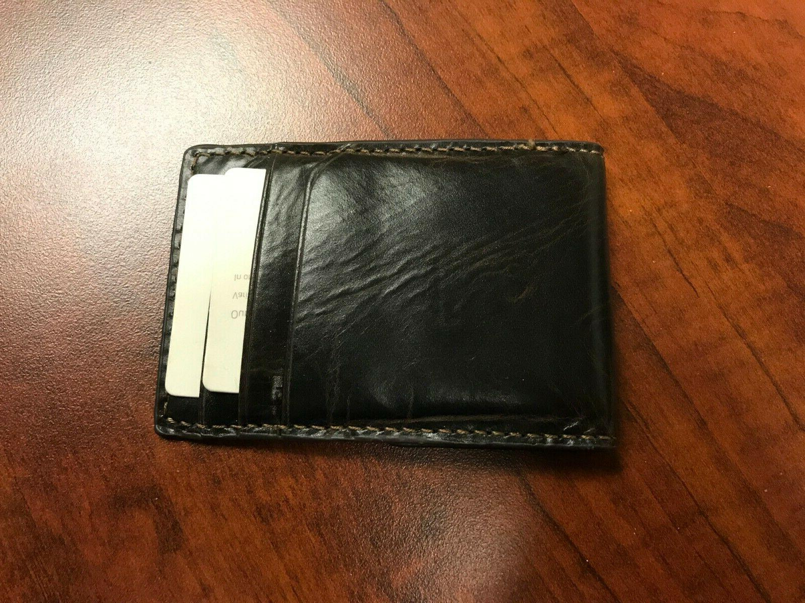 men s brown leather money clip wallet