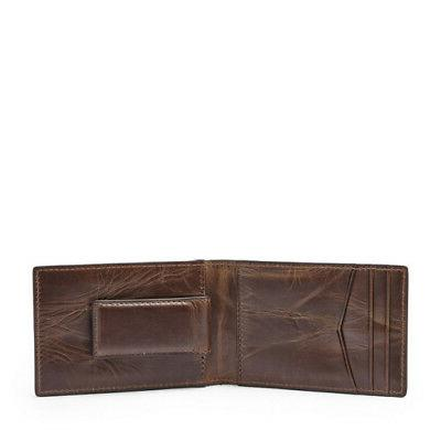 Fossil Men's Clip Bifold Dark Wallet