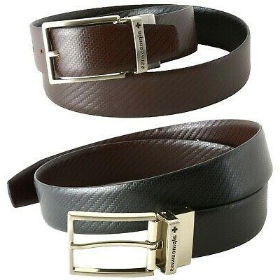 Alpine Swiss Men's Dress Belt Reversible Black Brown Leather