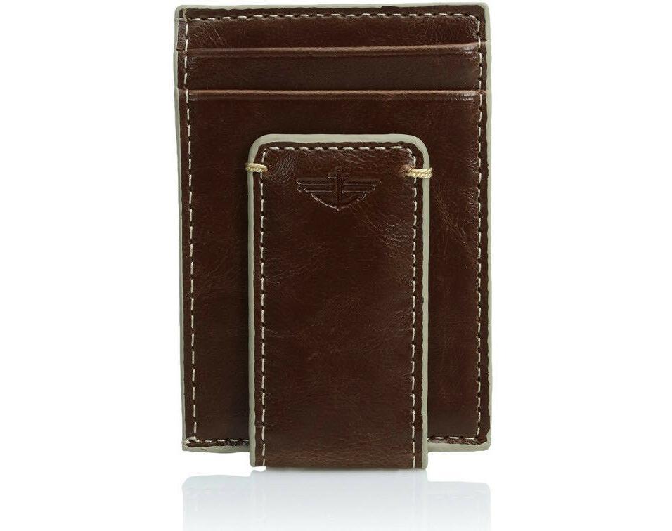 Dockers Men's Leather 2 Slot Money Clip BROWN