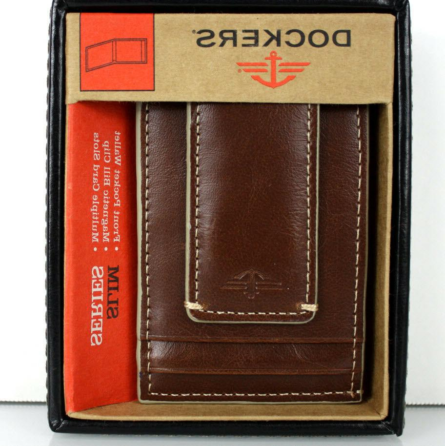 Dockers Men's Leather Wallet Slot Organizer ID Clip BROWN