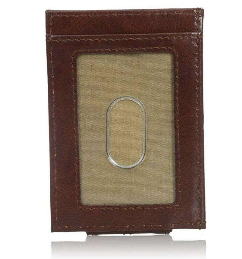Dockers FRONT Leather Wallet Slot Organizer ID Money Clip BROWN