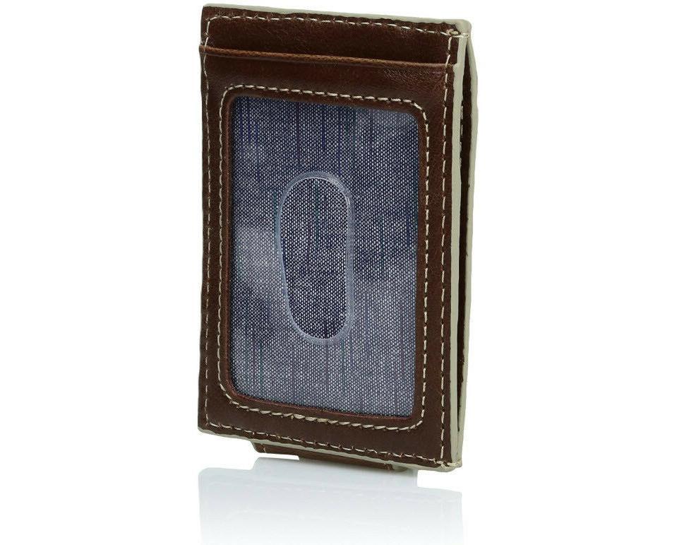 Dockers Men's Pocket Leather Wallet Slot ID Clip