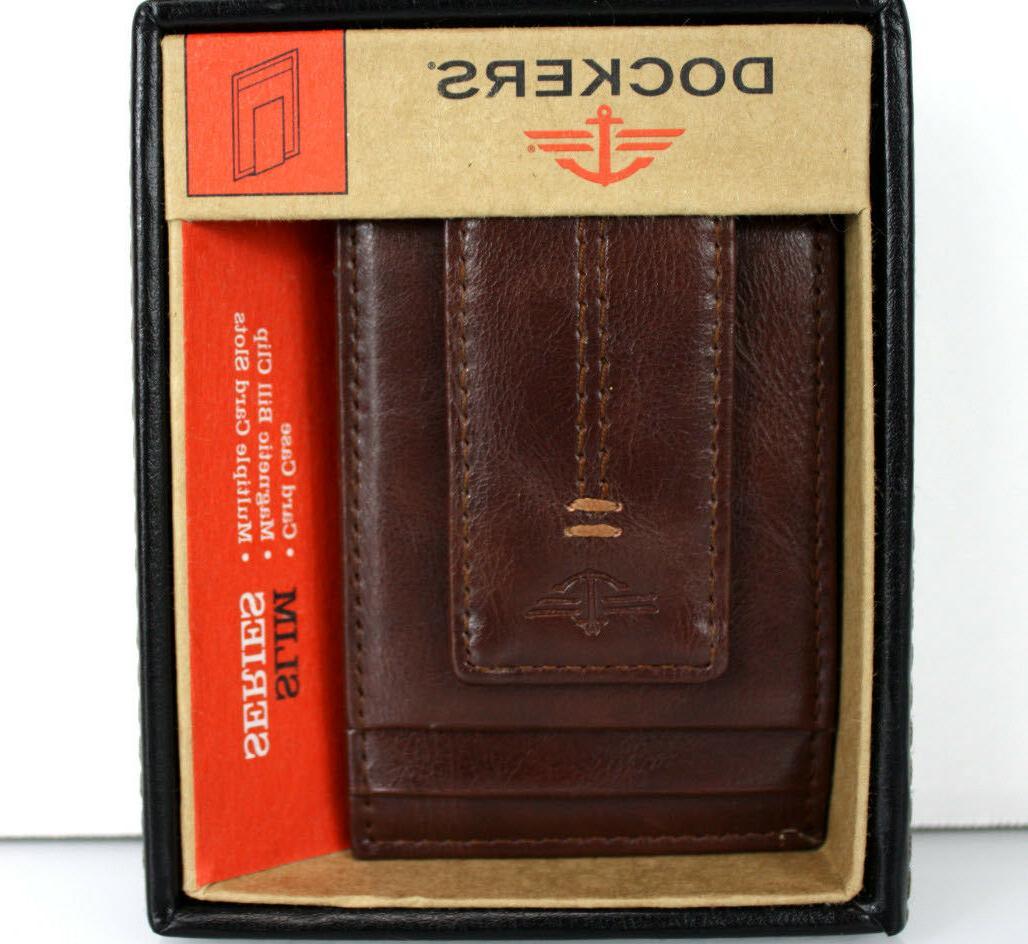 Dockers Men's Leather Slot Organizer Clip BROWN