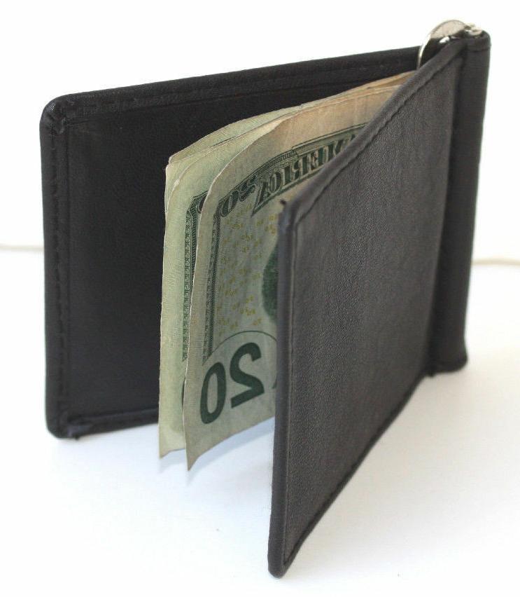 men s genuine leather spring money clip