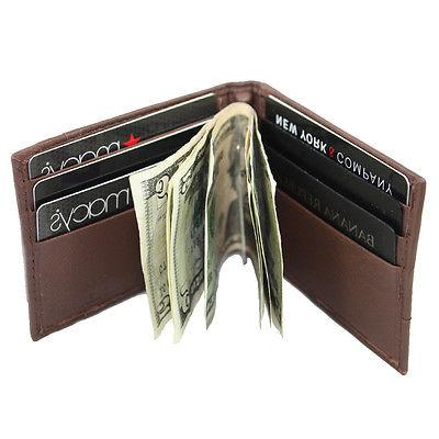 Men's Lambskin Leather Spring Money Clip Compact Bifold Fron
