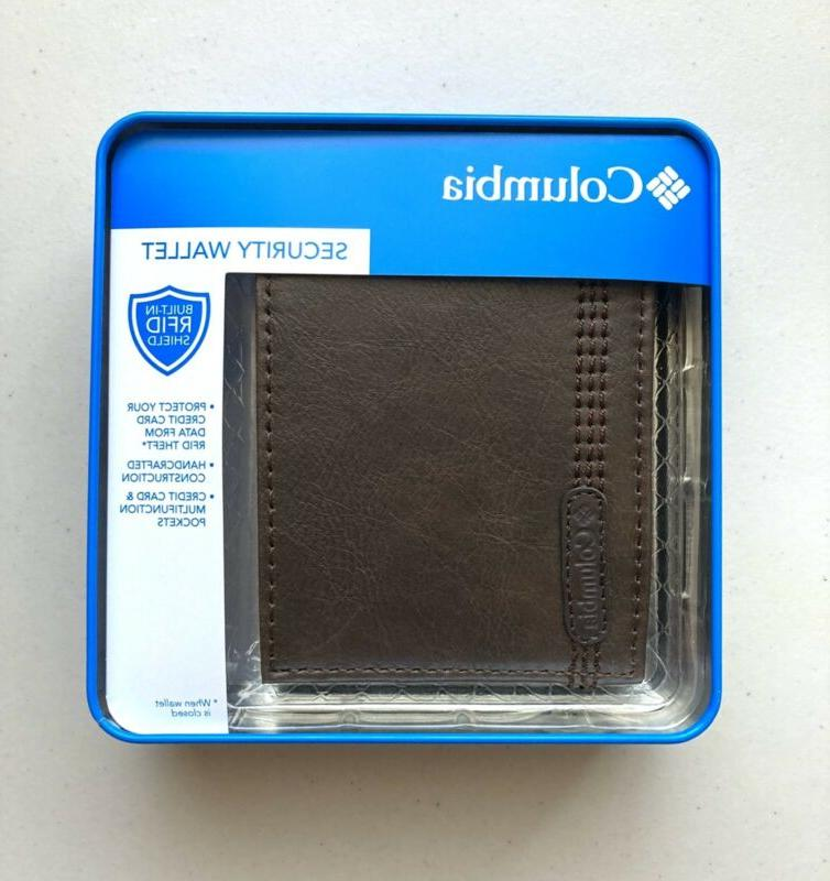 Columbia Men's Leather Extra Capacity Wallet Brown