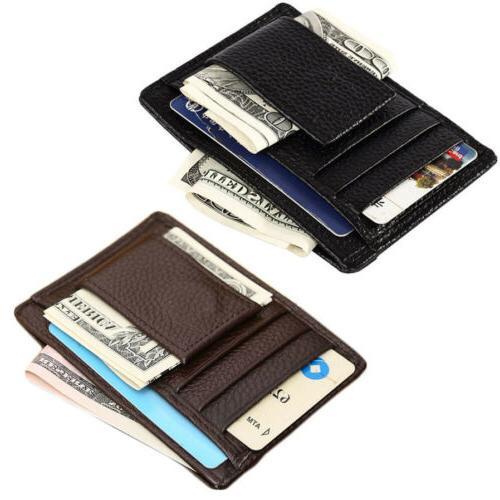 men s leather slim magnetic money clip