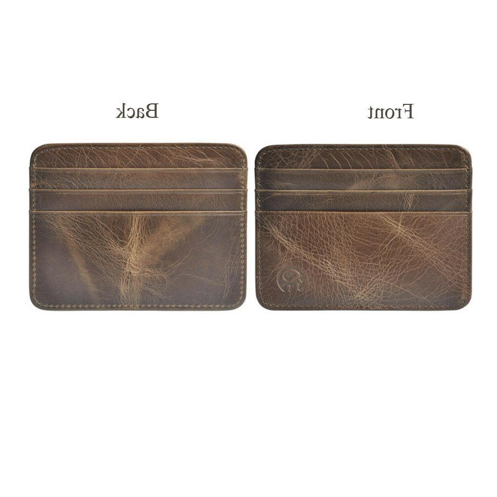 Men's Leather Slim Clip Wallet Thin Credit Card Holder New