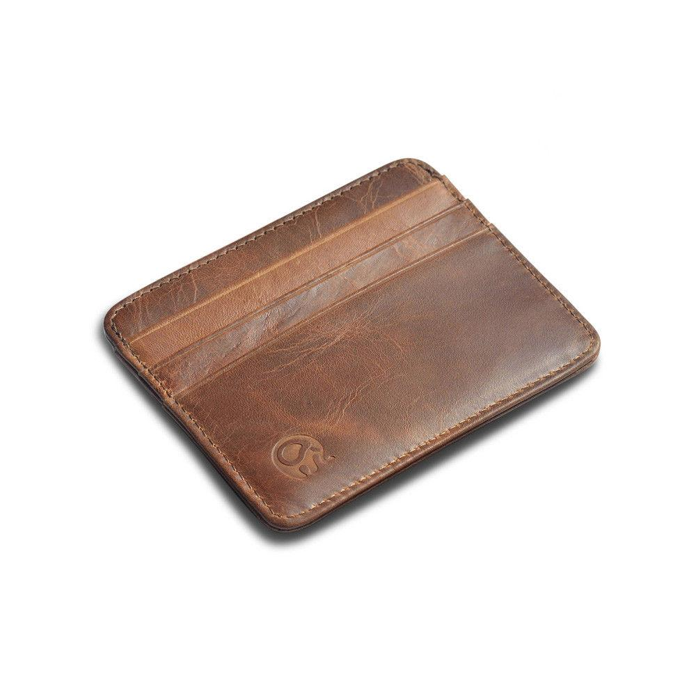 Men's Leather Clip Pocket Thin Credit Card Holder New