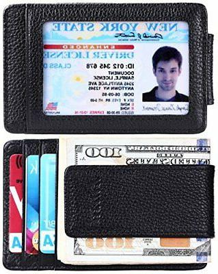 Kinzd Men's Leather Wallet Slim Magnet, Money Clip RFID Cred