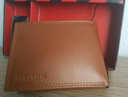 TOMMY HILFIGER Passcase Wallet w/Money Genuine New