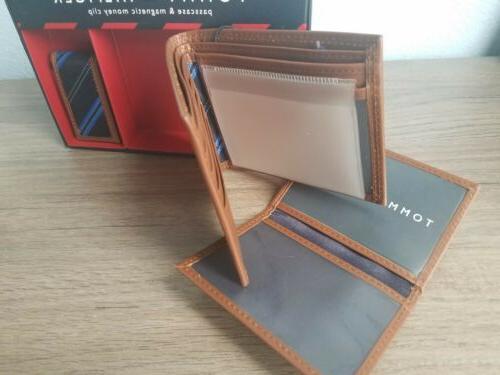 TOMMY Passcase Wallet w/Money Clip Genuine