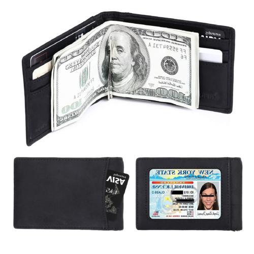 amelleon Men's RFID Blocking Leather Wallet - Front Pocket W