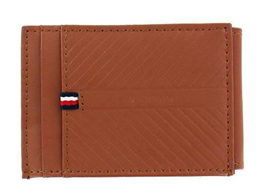 men s tan leather id holder money